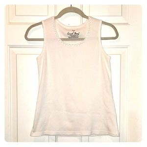 Coral Bay White Tank with small silver beading.